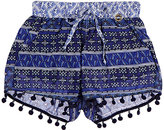 OndadeMar Mixed-Geometric Pom-Pom-Detailed Voile Shorts