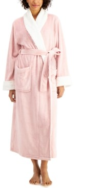 Charter Club Long Cozy Robe With Faux-Fur Trim, Created for Macy's