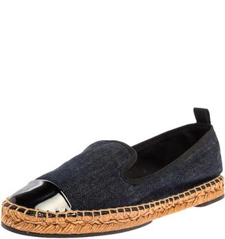 Fendi Indigo Dark Blue Denim Junia Patent Leather Cap Toe Espadrilles Size 37.5