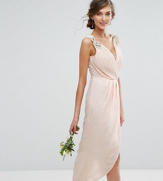 TFNC Tall Wedding Wrap Midi Dress With Embellishment