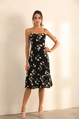 Miss Floral Floral Print Strappy And Spaghetti Strap Midi Dress In Black