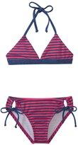 Splendid Girls' Malibu Stripe Reversible Triangle Halter Two Piece Set (7yrs14yrs) - 8140949