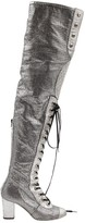 Chanel Silver Leather Boots