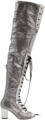 Chanel \N Silver Leather Boots