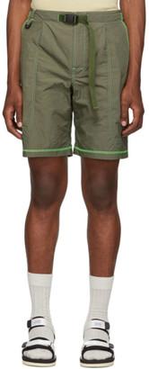 John Elliott Khaki High Shrunk Nylon Mountain Shorts