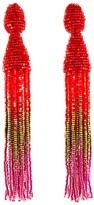 Oscar de la Renta Cayenne Ombré Beaded Long Tassel Earrings