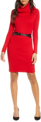 Donna Ricco Cowl Neck Belted Long Sleeve Sweater Dress