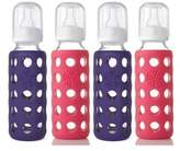 Lifefactory 9oz BPA Free Glass Baby Bottles - 4-Pack Raspberry and Royal Purple