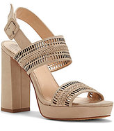 Vince Camuto Jazelle Nubuck Slingback Lasercut Block Heel Dress Sandals