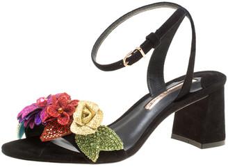 Sophia Webster Black Suede Lilico Glitter Ankle Strap Sandals Size 37