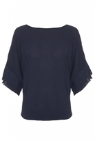 Quiz Navy Pleated Sleeve Dip Hem Top