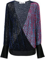 Diane von Furstenberg V-neck semi-sheer burnout velvet top