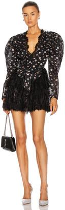 Raisa Vanessa RAISA&VANESSA Glittered Lace V Neck Mini Dress in Black | FWRD