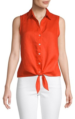 Saks Fifth Avenue Tie-Front Sleeveless Linen Shirt