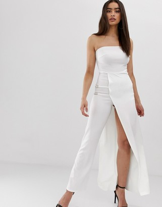 Club L London bandeau jumpsuit with chain detail and thigh split-White