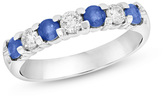 Zales Blue Sapphire and 1/3 CT. T.W. Diamond Seven Stone Wedding Band in 14K White Gold