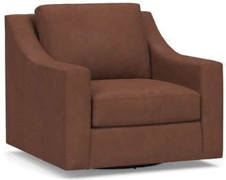 Pottery Barn York Slope Arm Leather Swivel Armchair