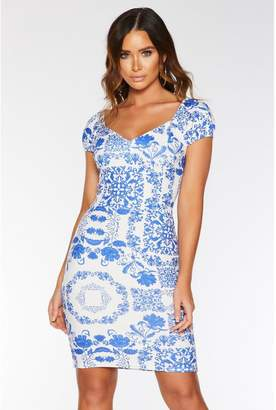 Quiz Royal Blue and White Tile Print Bodycon Dress