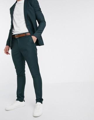 New Look skinny suit pant in dark green