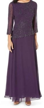 J Kara Beaded 3/4-Sleeve Gown