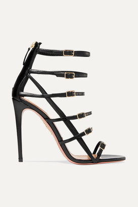 Aquazzura Super Model 105 Leather Sandals - Black