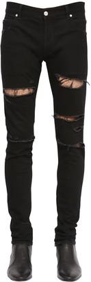 Balmain 15cm Slim Distressed Cotton Denim Jeans