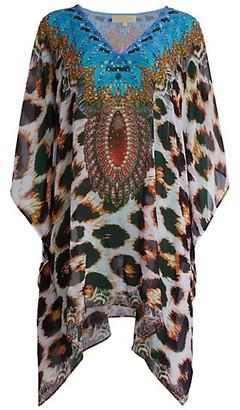 La Moda Clothing Sheer Leopard-Print Caftan Coverup