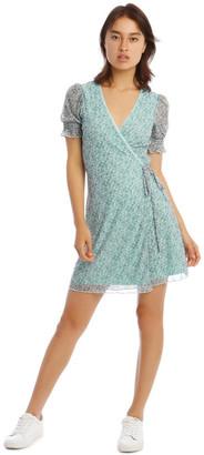 Miss Shop Blue Retro Ditsy Mesh Wrap Dress