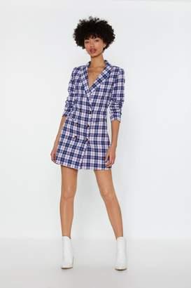 Nasty Gal Womens Picnic This Check Blazer Dress - Blue - 6