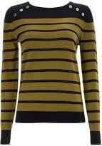 Khaki Button Detail Stripe Top