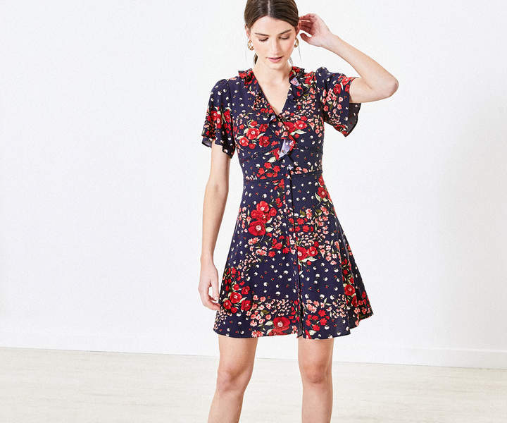 Oasis Floral Ruffle Tea Dress