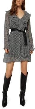 Marella Teresa Ruffled Houndstooth-Print Dress