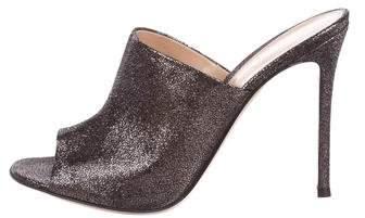 Gianvito Rossi Metallic Suede Slide Sandals