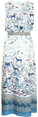 Saloni Fleur porcelain print midi dress