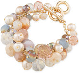 Carolee Gold-Tone Imitation Pearl and Multi-Color Bead Cluster Toggle Bracelet