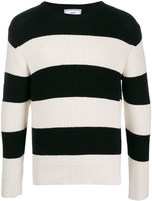 Ami Crew Neck Striped Jumper