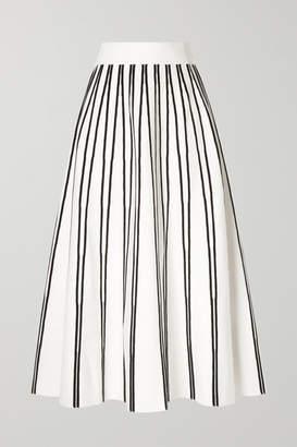 J.Crew Striped Knitted Midi Skirt - Ivory