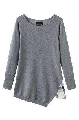 Melange Home Fancy Stitch Women's Gingham Split Joint Boat Neck Loose Knitted Sweater Grey