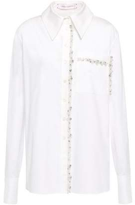 Carolina Herrera Tulle-trimmed Crystal-embellished Cotton-blend Poplin Shirt