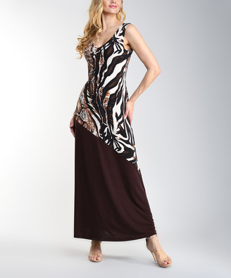 Lbisse Women's Casual Dresses Brown - Brown & Black Zebra Contrast Sleeveless Maxi Dress - Women