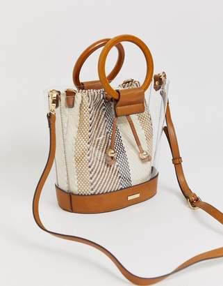 Aldo Snake Effect Bucket Bag-Brown