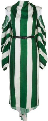 Hellessy cut-out sleeve striped dress