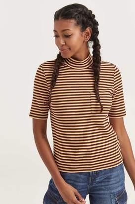 Ardene Striped Mock Neck T-shirt