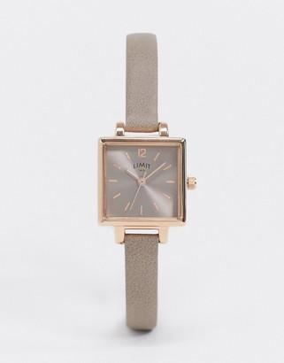 Limit square dial faux leather watch in tan