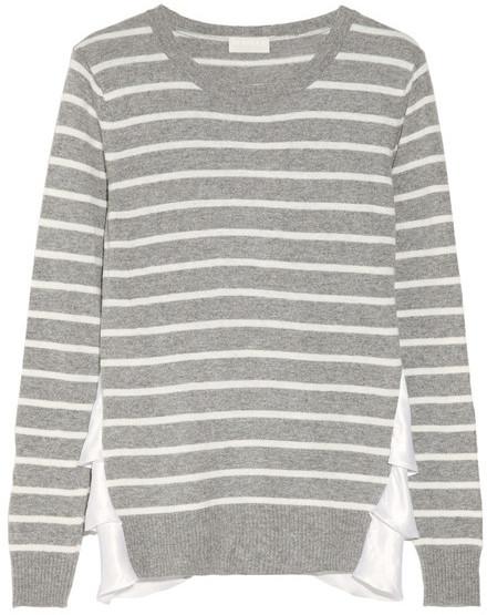 Clu Satin-trimmed fine-knit sweater