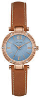 GUESS Park Aveneue Crystal-Accented Rose Goldtone and Leather Watch