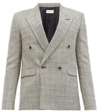 Saint Laurent Chevron-check Double-breasted Wool-twill Blazer - Grey