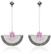 Ri Noor Fan Dangler Earrings With Pink Sapphire & Black & White Diamonds