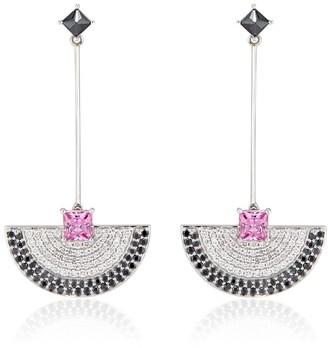 Ri Noor Fan Dangler Earrings With Pink Sapphire & Black & White Diamonds