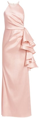 Badgley Mischka Halter Ruffle Knot Dress